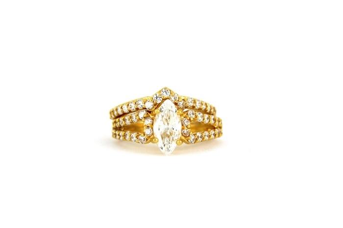 22ct 916 Hallmark Yellow Gold Bridal Wedding ring set Size M WBSR25