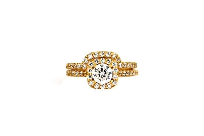 22ct 916 Hallmark Yellow Gold Bridal Wedding ring set Size M WBSR26