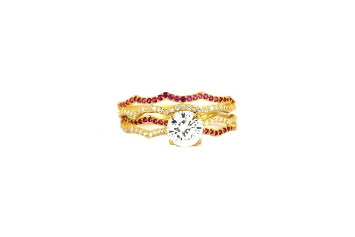 22ct 916 Hallmark Yellow Gold Bridal Wedding ring set Size P WBSR27