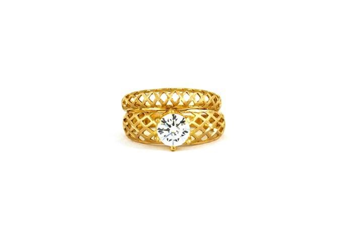 22ct 916 Hallmark Yellow Gold Bridal Wedding ring set Size M WBSR24