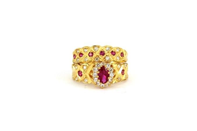 22ct 916 Hallmark Yellow Gold Bridal Wedding ring set Size O WBSR29