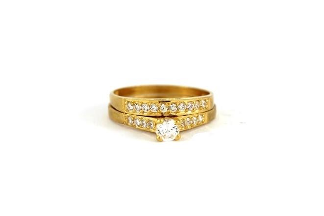 22ct 916 Hallmark Yellow Gold Bridal Wedding ring set Size N WBSR32