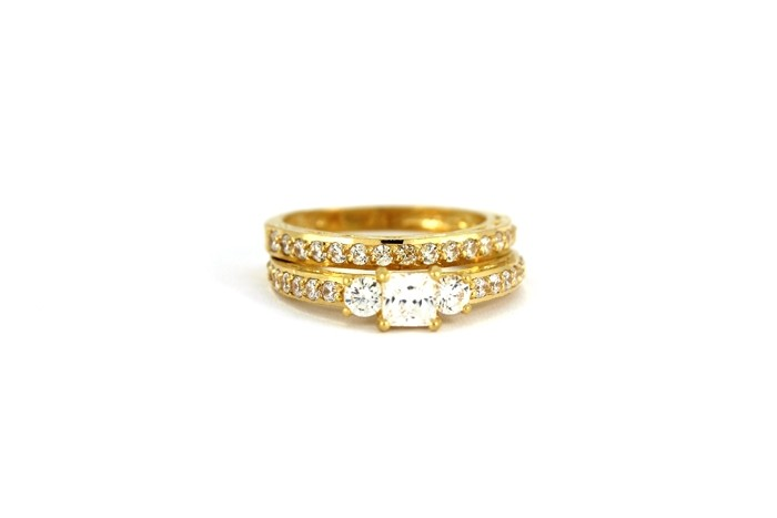 22ct 916 Hallmark Yellow Gold Bridal Wedding ring set Size L WBSR33