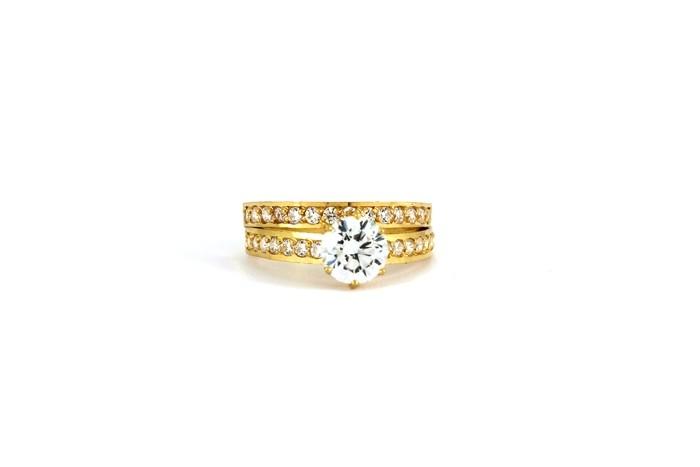 22ct 916 Hallmark Yellow Gold Bridal Wedding ring set Size N WBSR34