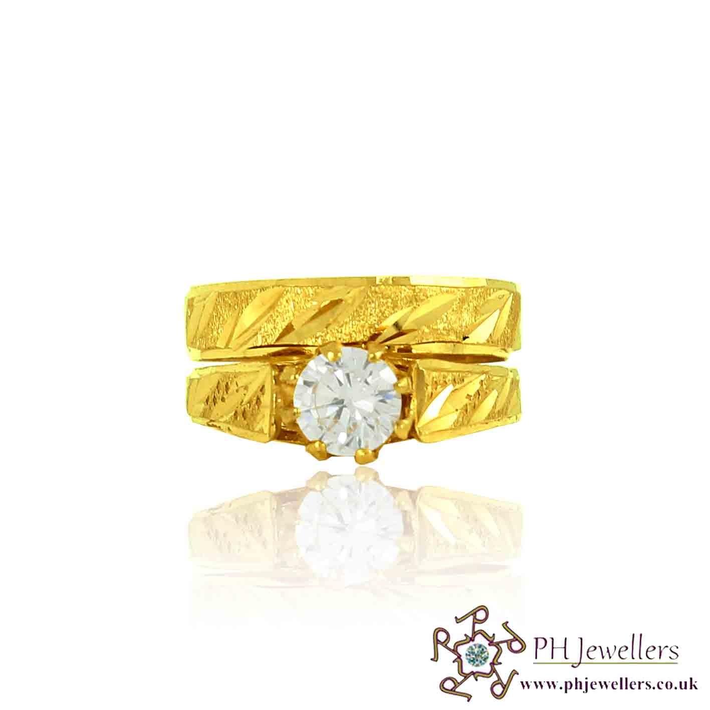 22ct 916 Hallmark Yellow Gold Round Size N Ring CZ WBSR7