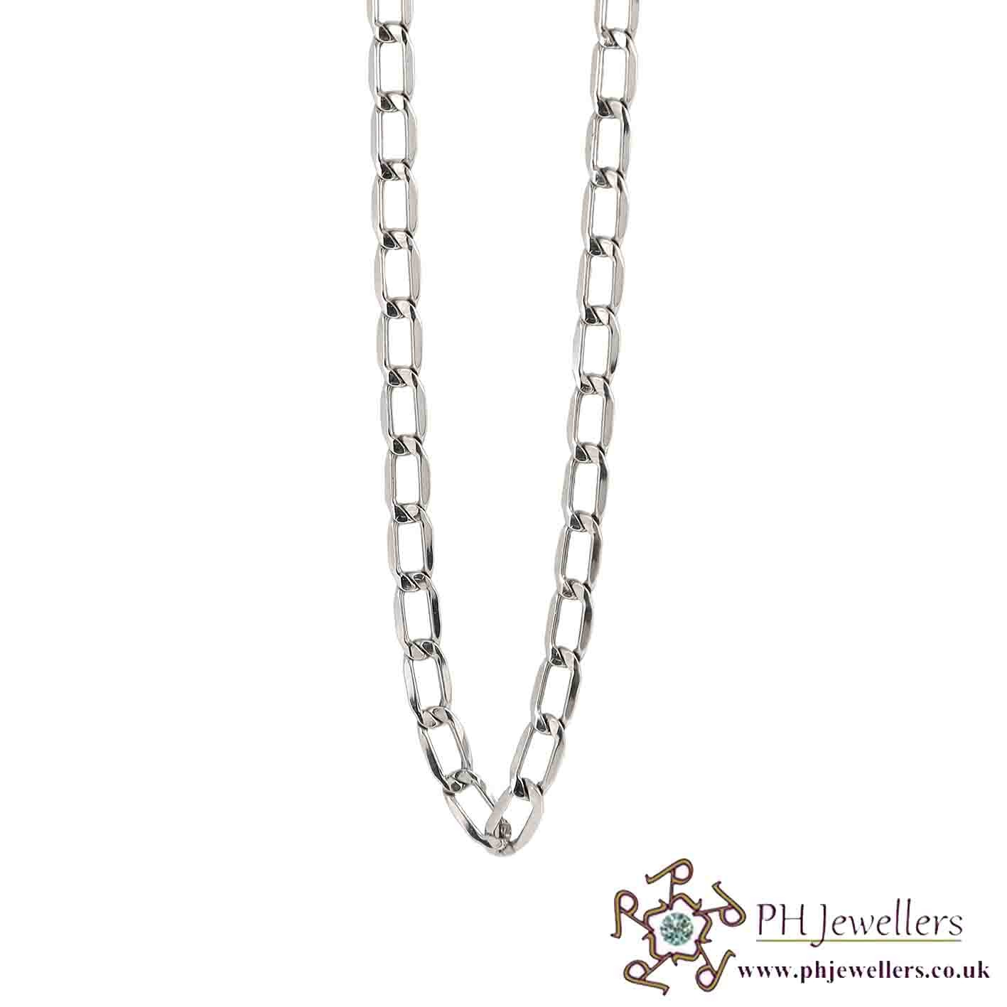 18CT 750 Hallmark White Gold Curb Chain WGC3