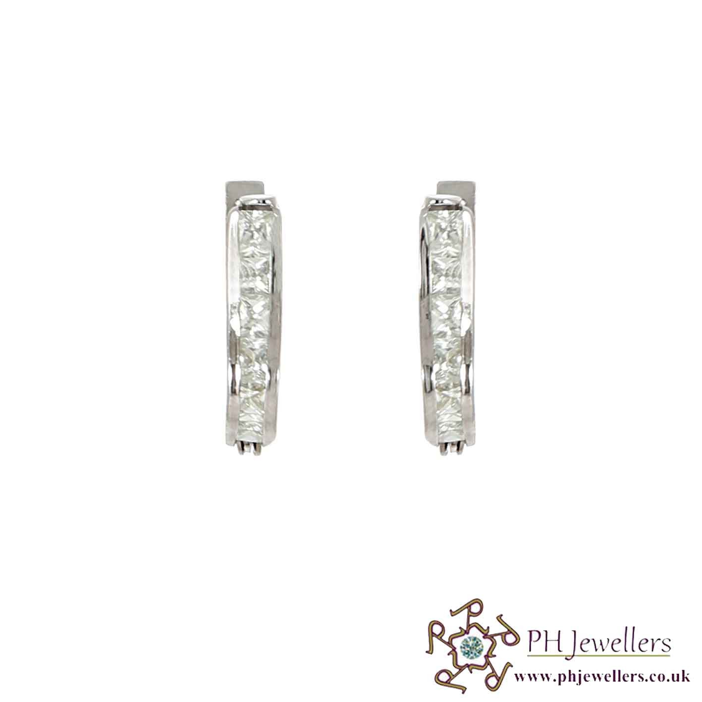 18CT 750 Hallmark White Gold Clip On Earrings CZ WGE3