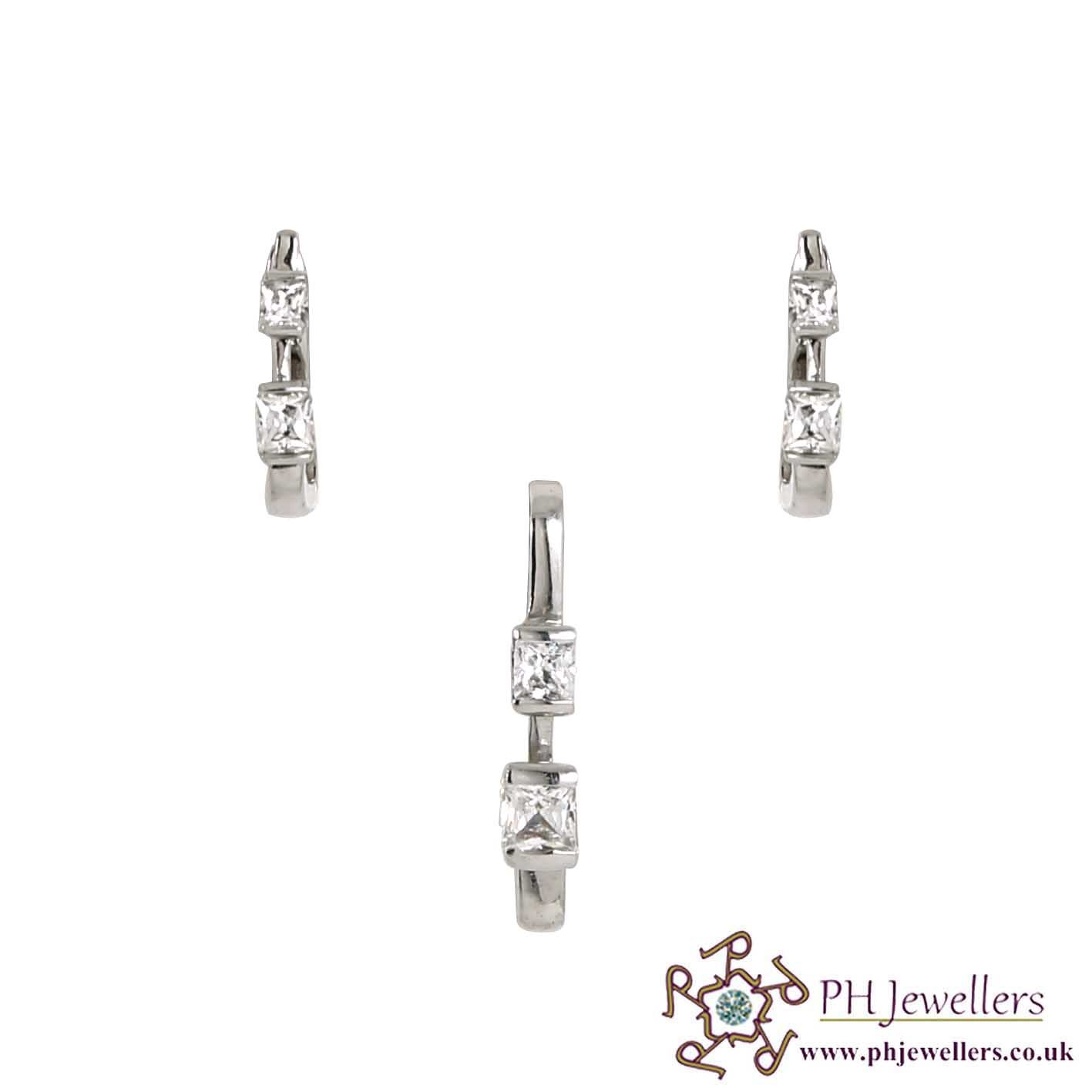 18CT 750 Hallmark White Gold Pendant Set CZ WGPS4