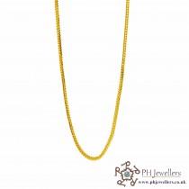 "22ct 916 Hallmark Indian Yellow Gold V Fox Tail 18"" Chain PC12"