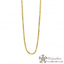 22ct 916 Hallmark Yellow Gold Square Rhodium Chain RC27