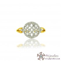 18CT 750 Hallmark Yellow Gold Diamond Size K Ring DR19