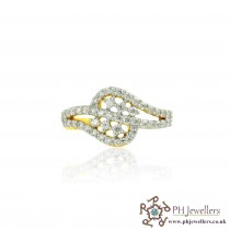18CT 750 Hallmark Yellow Gold Diamond Size I Ring DR22