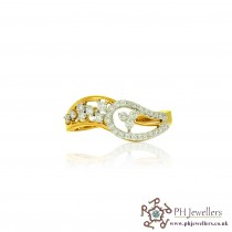 18CT 750  Yellow Gold Diamond Size K Ring DR38