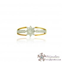 18CT 750  Yellow Gold Diamond Size P CLUSTER FLOWER Ring DR43