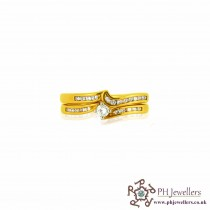 18CT 750 Yellow Gold Wedding Band Set Diamond Size P Ring DWBS3