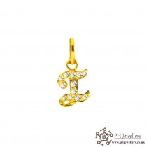 22ct 916 Yellow Gold Initial-I CZ Pendant IP10