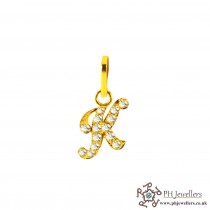 22ct 916 Yellow Gold Initial-K CZ Pendant IP11