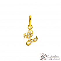 22ct 916 Yellow Gold Initial-L CZ Pendant IP12