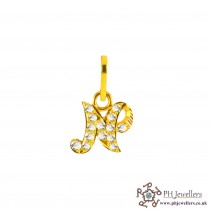 22ct 916 Yellow Gold Initial-N CZ Pendant IP14
