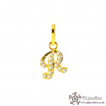22ct 916 Yellow Gold Initial-R CZ Pendant IP16