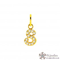 22ct 916 Yellow Gold Initial-S CZ Pendant IP17