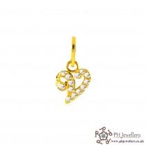 22ct 916 Yellow Gold Initial-V CZ Pendant IP20