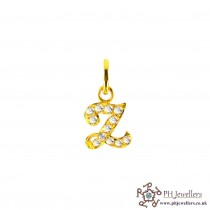 22ct 916 Yellow Gold Initial-Z CZ Pendant IP22
