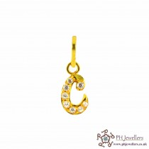 22ct 916 Yellow Gold Initial- C Pendant CZ IP4