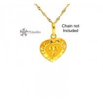 22ct 916 Yellow Gold Light Matt and Shiny Heart Initial 'T' Pendant IP54