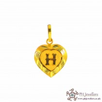 22ct 916 Yellow Gold Initial- H (heart) Pendant IP9
