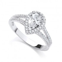 925 Sterling Silver Rhodium Plated Ring with CZ Stones
