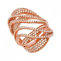 925 Sterling Silver Rose Gold Plated Ring Arched With Waves