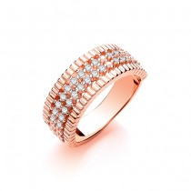 925 Sterling Silver Rose Gold Plated Ring with CZ Stones
