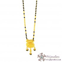 22ct 916 Hallmark Yellow Gold BLACK Bead CHAIN MANGALSUTRA MS4