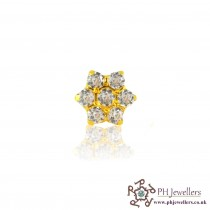 22ct 916 Yellow Gold Flower Nose Stud CZ NSS5