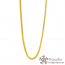 "22ct 916 Hallmark Yellow Gold V Fox 20"" Chain PC38"