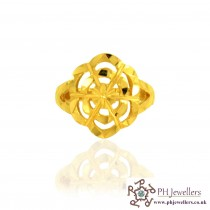 22ct 916 Hallmark Yellow Gold Size N Flower Ring PR28