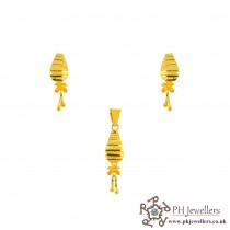 22ct 916 Yellow Gold Dangle Pendant Set PS15