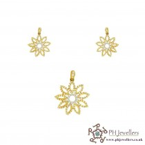 22ct 916 Hallmark Yellow Gold Flower Rhodium Pendant Set CZ PS25