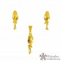 22ct 916 Yellow Gold Danglee Pendant Set PS7