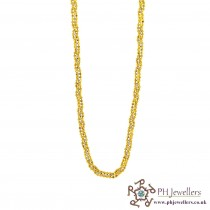 22ct 916 Hallmark Yellow Gold Chain Rhodium RC18