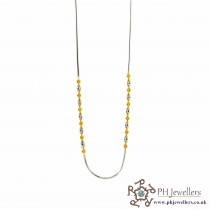 22ct 916 Hallmark Yellow Gold Ball Rhodium Chain RC7