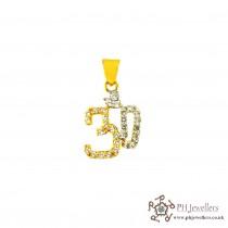 22ct 916 Hallmark Yellow Gold Om Rhodium Pendant CZ RP10