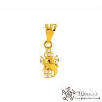 22ct 916 Yellow Gold Ganesh Pendant CZ RP13