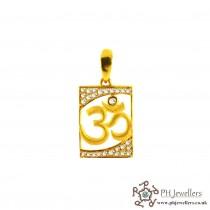 22ct 916 Hallmark Yellow Gold Om Pendant CZ RP23