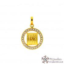 22ct 916 Hallmark Yellow Gold round Om Pendant CZ Stones RP26