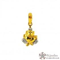 22ct 916 Hallmark Yellow Gold Ganesh Rhodium Pendant CZ RP36