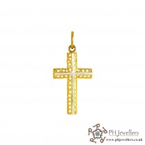 22ct 916 Hallmark Yellow Gold Cross Rhodium Pendant RP39