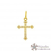22ct 916 Hallmark Yellow Gold Cross Pendant CZ RP42