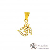 22ct 916 Yellow Gold Om Pendant CZ RP5